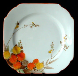Shelley England Acacia Art Deco Plate Square Salad 1930s Hand Colored