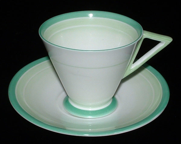 Shelley Green Bands And Shades Art Deco Cup And Saucer Eve Shape Demitasse 1930s