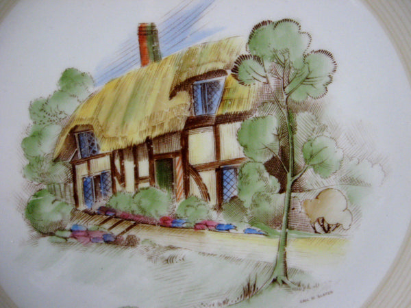 Shelley Old England Village Scene Hand Painted Plate Artist Signed Eric Slater 1930s