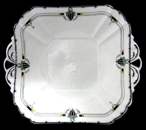 Shelley Art Deco Cake Plate England Enamel Fruit Leaves Queen Anne Shape