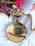 Torquay Tea Caddy Spoon 1930s Devon Brass Tea Scoop Enamel Shield Finial