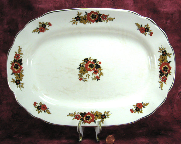 Wedgwood Richelieu Oval Platter Black Rust Serving 1930s Large Dinner Holiday
