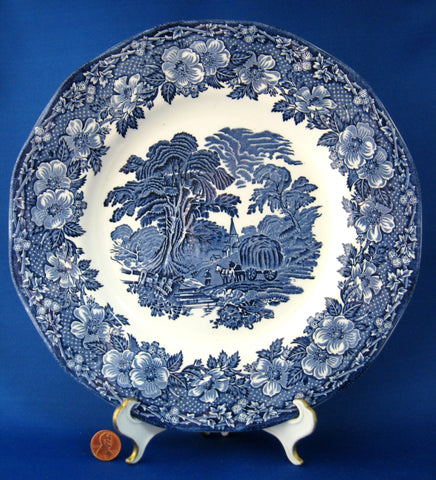 Wedgwood Woodland Blue Transferware Dinner Plate Vintage 10 Inches