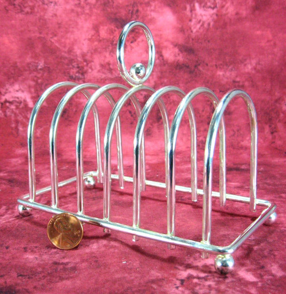 Vintage English Toast Rack Silver Plate Letter Holder Ball Feet Napkins 1930s