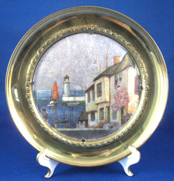 English Coastal Village Brass Plaque Metallic Vintage 1930s Wall Art England Hanging Plate