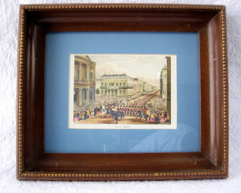 Pall Mall London Framed Victorian London Print Matted Glass Litho 1930s