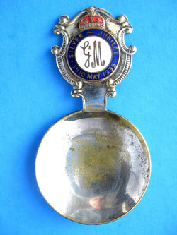 King George V And Queen Mary Tea Caddy Spoon Silver Jubilee EPNS 1935