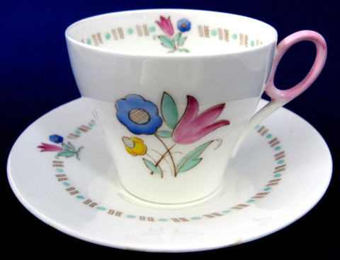 Shelley Cup And Saucer Bell Flower Art Deco Oxford 1935-1940s Pink Blue