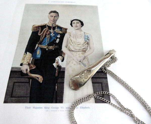 Necklace Spoon Coronation King George VI Of England 1937 Nickel Silver Souvenir
