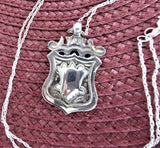 Necklace Watch Fob Pendant English Sterling Silver 1937 Chester Sterling Chain Fancy