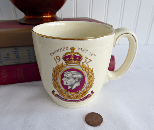 George VI Coronation Mug 1937 King George VI Queen Elizabeth II New Hall Royal Souvenir