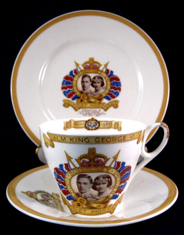 King George VI Shelley England Coronation Teacup Trio 1937 Royal Commemorative