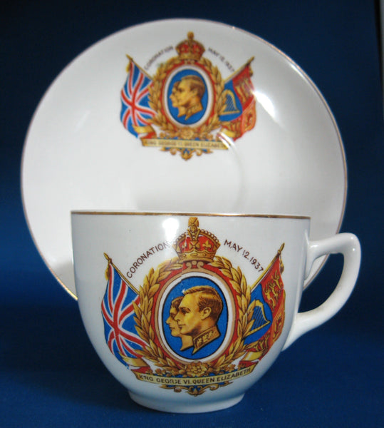 Coronation King George VI Elizabeth Cup And Saucer 1937 Profiles Royal Souvenir