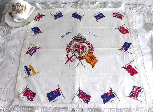 Scarf Coronation Edward VIII George VI 1937 Crown Flags Hankerchief