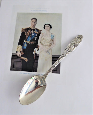 King George VI Queen Elizabeth Silver Spoon USA Visit 1939 Souvenir Fancy