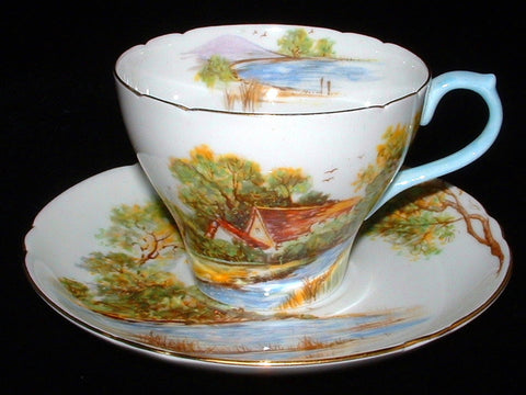 Shelley England Cup And Saucer Old Mill New Cambridge 1949-1966