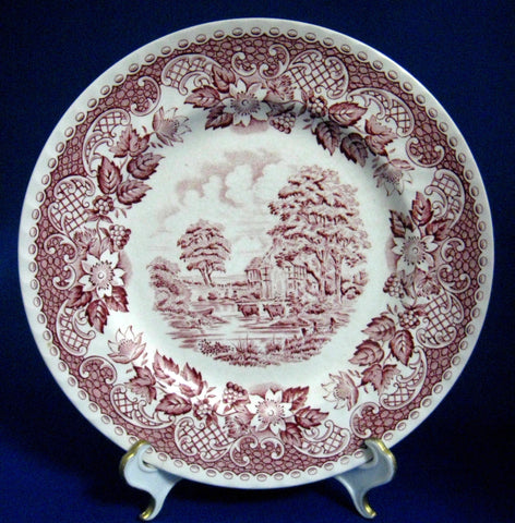 Red Transferware Plate Elizabethan Luncheon 1940s Barratts Ironstone