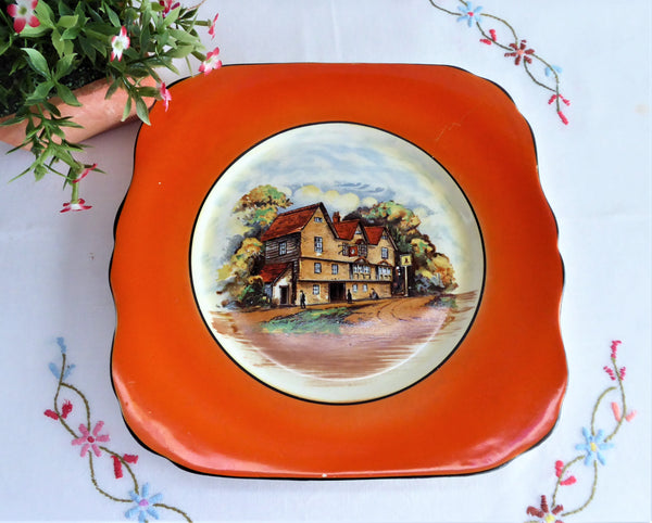 Vintage 1940s Empire Ware English Village Pub Cake Plate Cake Server Orange Border