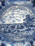 Grand Canyon Souvenir Blue Transferware 1940s Plate Ironstone Myott Bright Angel