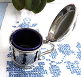 Large Mappin And Webb Gothic 1940s Mustard Jam Cobalt Blue Ceramic Liner Silver Plated