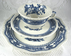 Masons Manchu Teacup Trio Blue Transferware Larger Plate 1940s