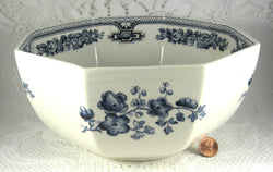 Masons Blue Transferware Manchu Serving Bowl Octagonal Large 1940s White Ironstone Blue And White