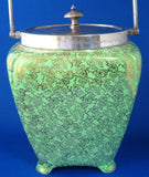 Art Deco Gold Green Brama Chintz Biscuit Barrel Fancy 1940s