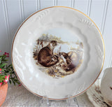Otters Plate Luncheon White Wheat Embossed Ironstone England 1940s Weatherby