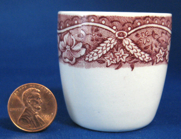 25% OFF Today! Red Transferware Eggcup Barratt's Old Castle Vintage 1940s Ironstone