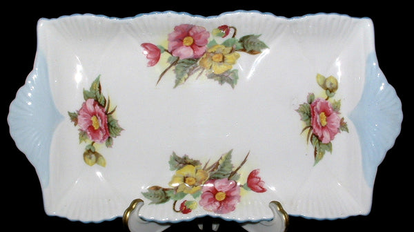Shelley Begonia Cream Sugar Tray Dainty Shape Blue Trim 1950s