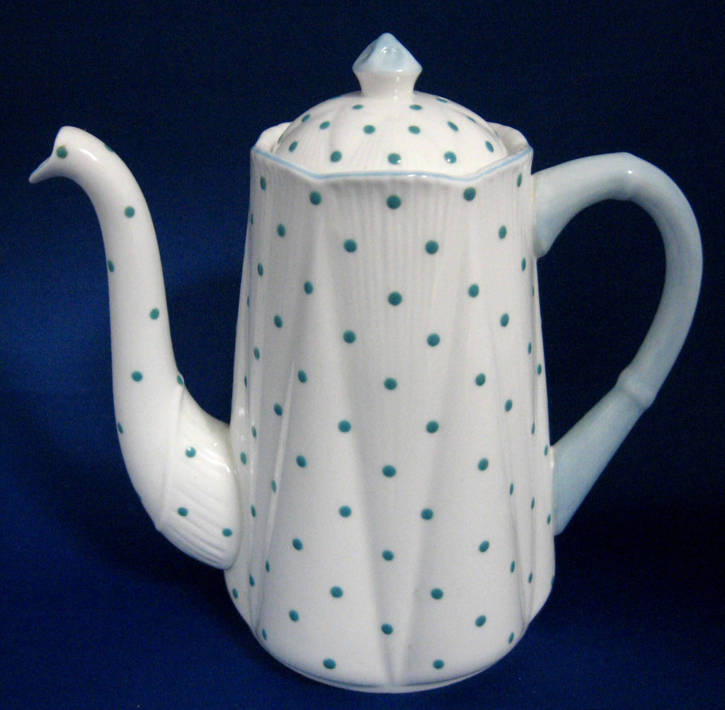 Shelley Dainty Polka Dot Coffee Pot Turquoise Dots 1940s Blue Dots