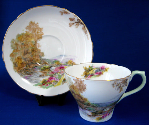 Shelley England Heather Cup and Saucer New Cambridge England 1940s