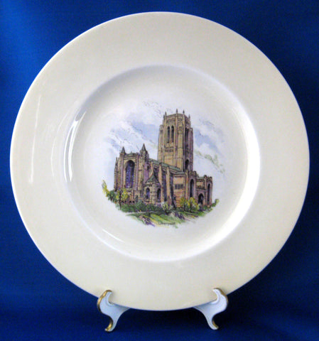 Plate Shelley China Liverpool Cathedral Charger England 1940s English Cabinet