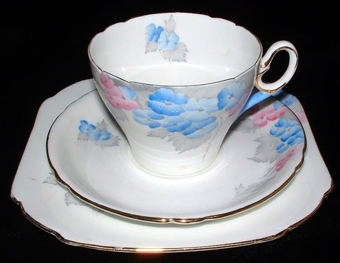 Shelley Phlox Cambridge Teacup Trio Art Deco England 1940s Art Deco