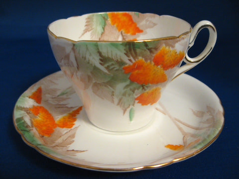 Shelley Art Deco Orange Wisteria Old Cambridge Cup And Saucer 1940s