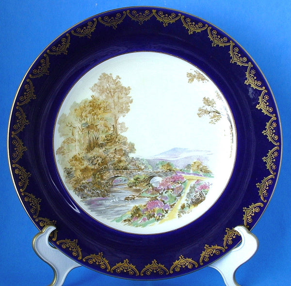 25% OFF Today! Shelley Heather Dinner Plate Cobalt Blue Gold Overlay 1950s Cabinet Plate
