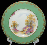Shelley Englands Charm Dinner Plate Green Gold Overlay Large Service Plate