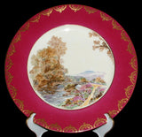 Shelley Heather Dinner Plate Magenta Gold Overlay Charger 1950s Cabinet