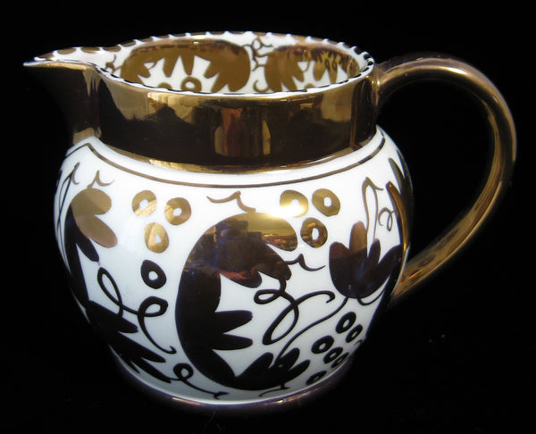 Wedgwood Gold Luster Creamer Jug 1940s Hand Painted Grapes Pitcher
