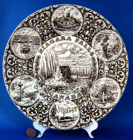Niagra Falls Canada Brown Transferware Souvenir Plate 10 Inches Wood 1940s