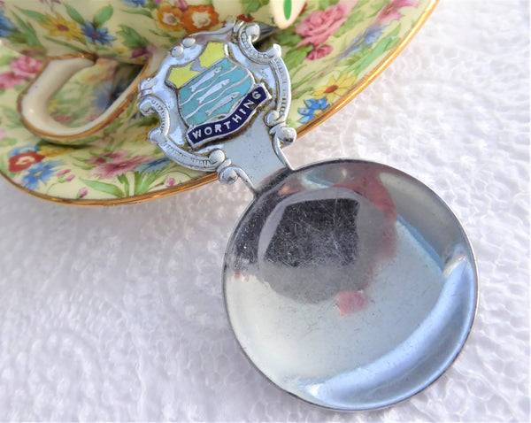 Worthing Tea Caddy Spoon Tea Scoop Enamel Shield Finial 1930s W Sussex