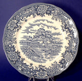 Salem English Village Blue Transferware Plate Ironstone 10 Inch Dinner