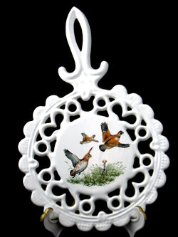 Fancy Partridges 1950s White Enamel Cast Iron Trivet Mid Century Wall Decor Birds