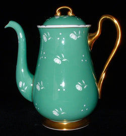 Shelley China Coffee Pot Floral Stencil Dots GreenTall Teapot 1940s