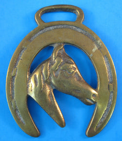 Horse Brass Horse Head In Horse Shoe Unusual Right Face 1940s