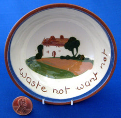 Motto Ware Dish Waste Not Want Not Dartmouth Mottoware 1940s