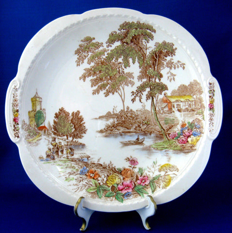 The Ferry Polychrome Transferware Lugged Cake Plate Swinnertons 1940s
