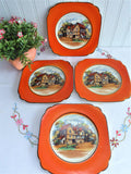 Plates 4 English Village Pub 1940s Empire Ware 6 Inch Side Plates Orange Border Black Trim