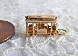 14kt Gold San Francisco Cable Car Charm Pendant 1950s Souvenir 14k Gold Charm 1.7 Grams