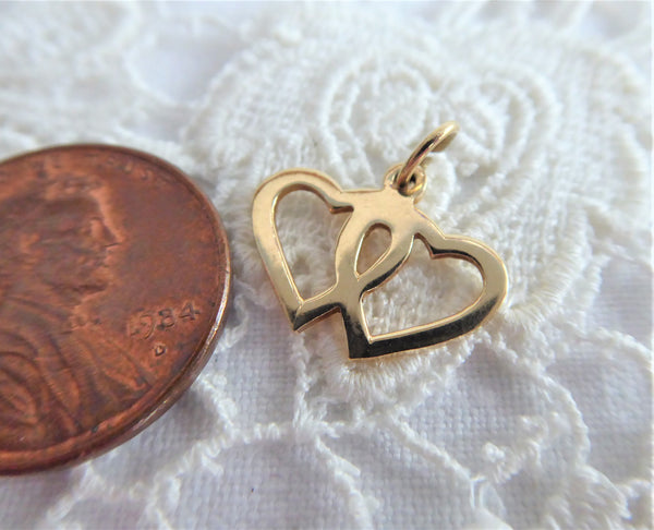 Charm 14kt Gold Hearts Love Token Solid 1950s Vintage Entwined Hearts Pendant